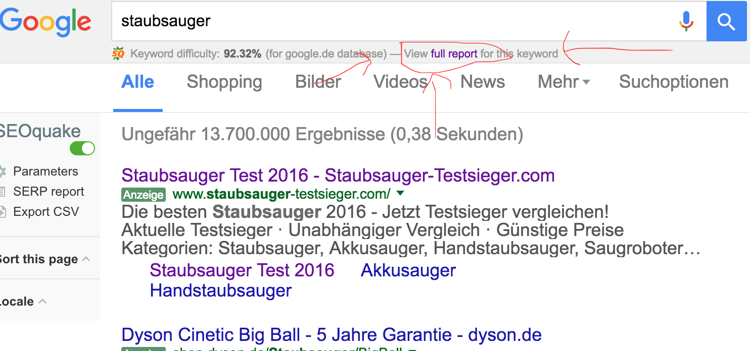 """Screenshot von Seocracke für die Suchanfrage """"Staubsauger"""""""