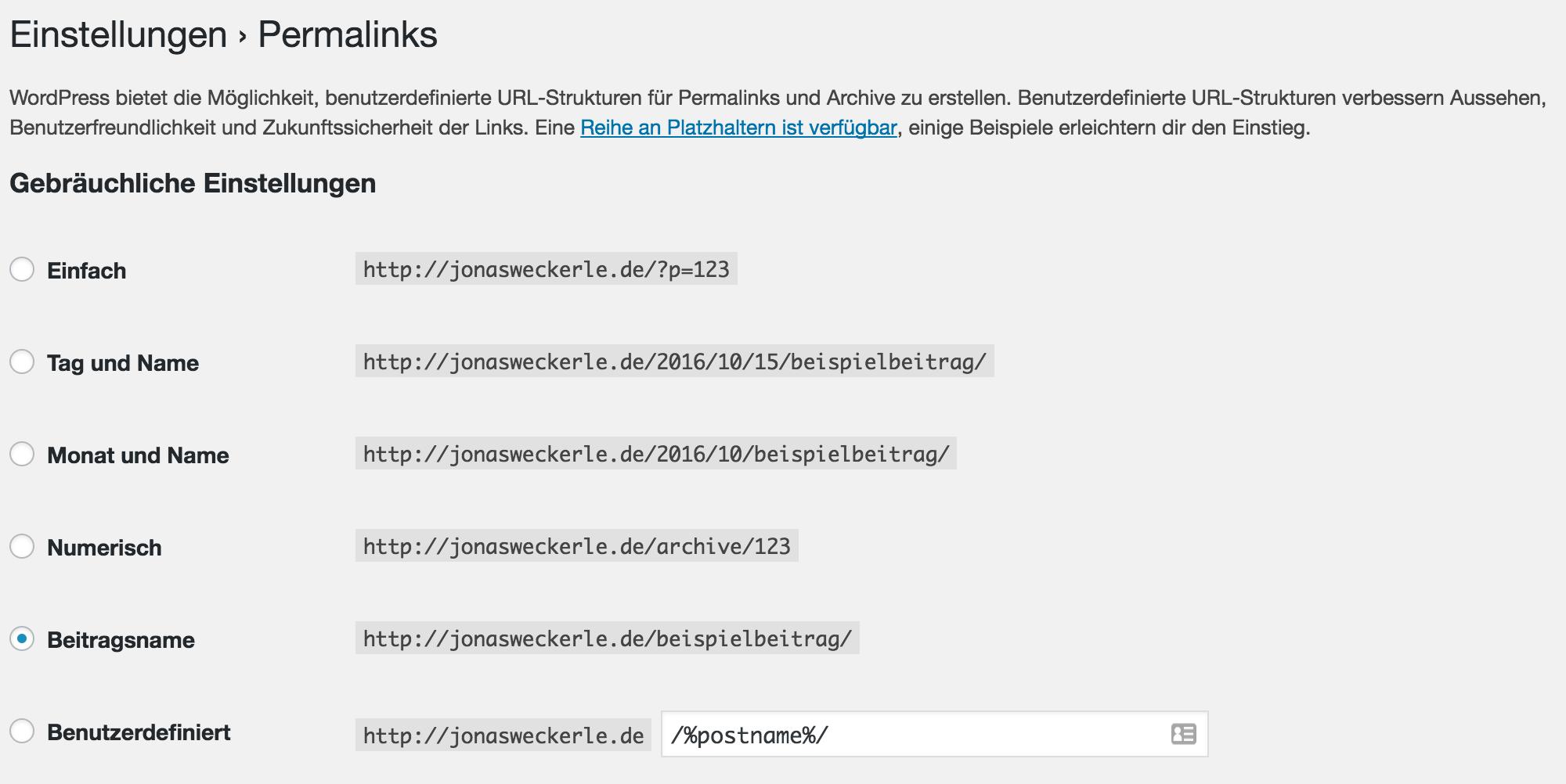 Auswahlmöglichkeiten für Permalinkeinstelleungen im Backend von WordPress