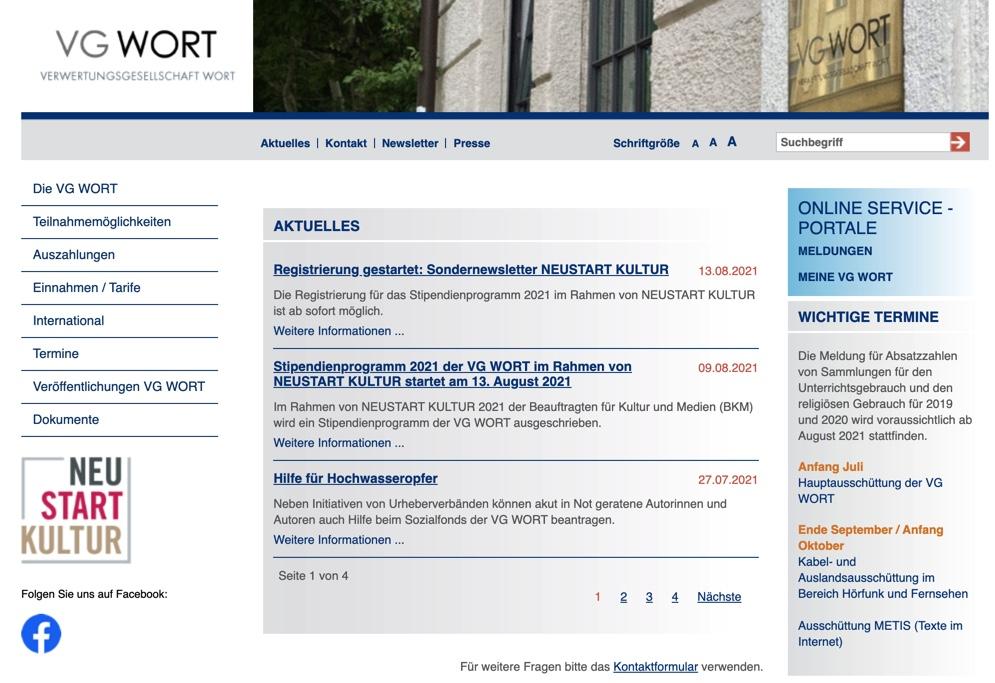 Webseite der VG-Wort